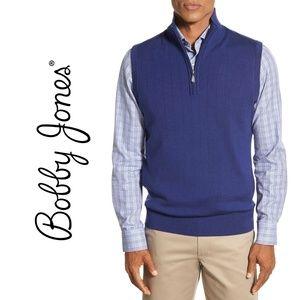 BOBBY JONES {L} Quarter Zip Golf Sweater Vest Blue